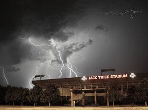 Lightning over Jack Trice Stadium